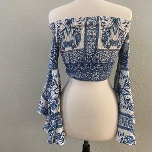 SHOWPO cropped blue white Mediterranean print top